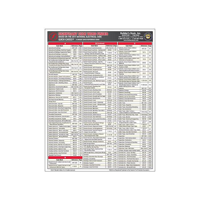 2017 NEC Significant Code Word Finder