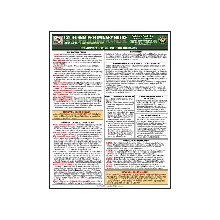 California Preliminary Notice
