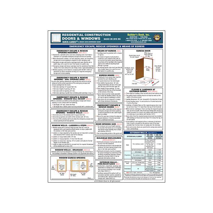 Residential Construction Doors & Windows Quick-Card 2018 IRC